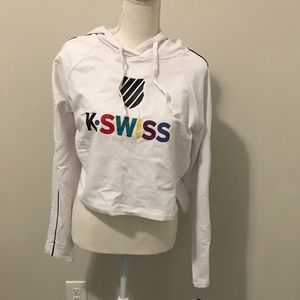 K-Swiss Heather Gray axis cropped hoodie